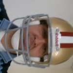 Liv with San Francisco 49ers NFL helmet