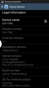 Screenshot details of Android OS for Samsung Galaxy S3 phone
