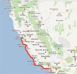 google maps hike San francisco to LA