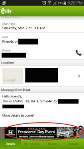 evite event details hilite advertising